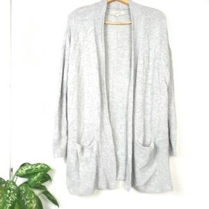 Loft Patch Pocket Open Front Cardigan Long Wool